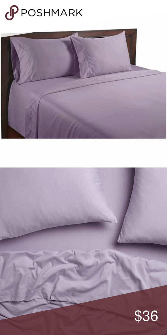 Cindy Crawford Purple Soft Satin Bed Sheets Set Flat Sheet And