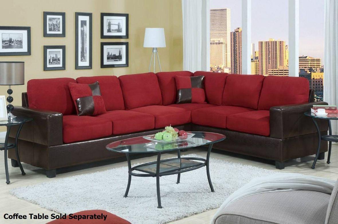 Poundex Playa F7638 Red Fabric Sectional Sofa Salon Rojo Sofa De La Sala Conjuntos De Salon