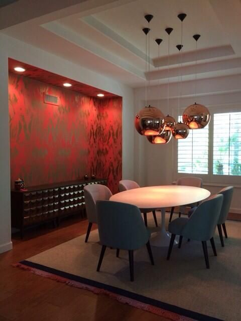 Beautiful persimmon wallpaper comes alive with great lighting