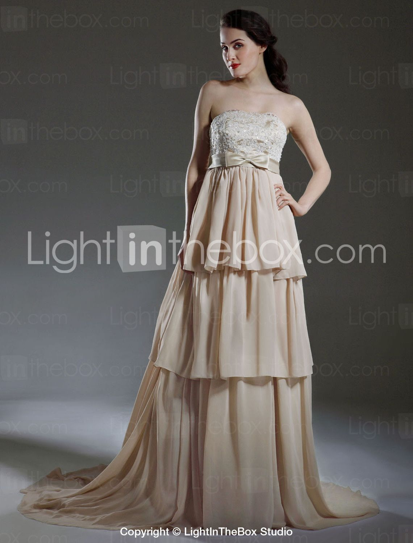 A line chiffon wedding dress  Aline Empire Strapless Court Train Satin Chiffon Tiered Wedding