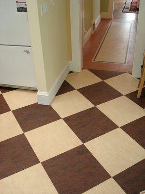 Checker board design in brown and cream Marmoleum linoleum ...