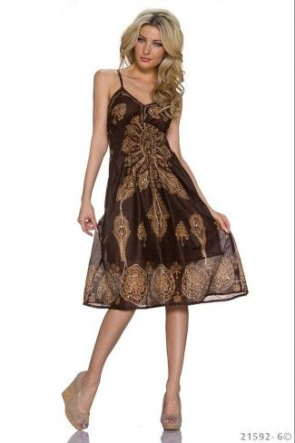 b6ce961fee81 Μίντι indi φόρεμα με print - Καφέ Κρεμ