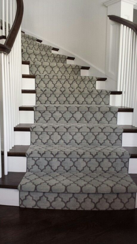Geometric Modern Stair Runner Gray Colour On Stairs In Brampton