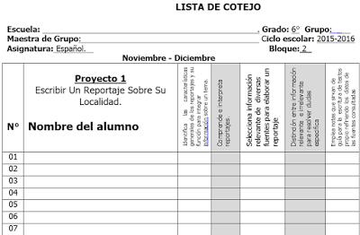Listas de cotejo de primero a sexto de primaria for Oficina de asistencia en materia de registros