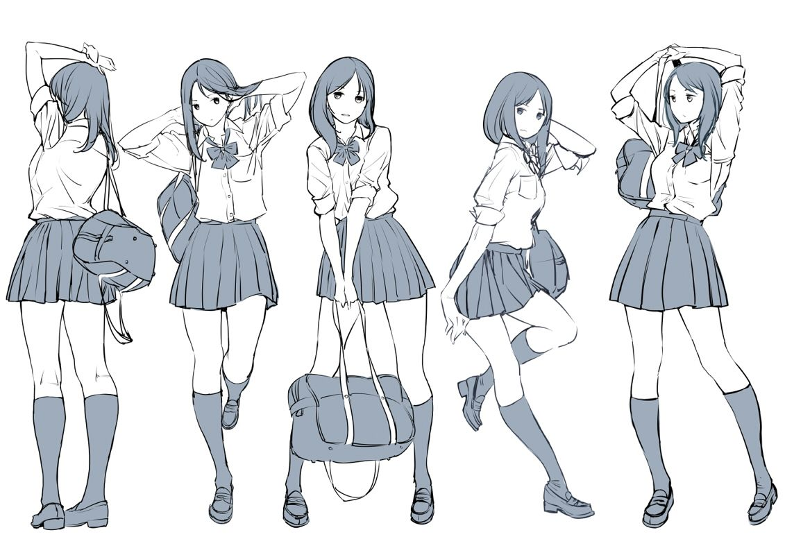 1girl Adjusting Hair Arms Up Bag Character Sheet Kneehighs Leaning Loafers Long Hair Monoch Anime Poses Reference Anime Drawings Tutorials Art Reference Photos