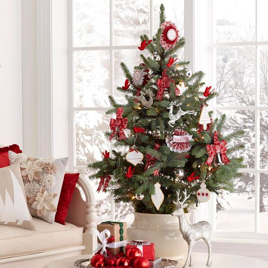 handmade christmas tree decorations in red and white unique theme