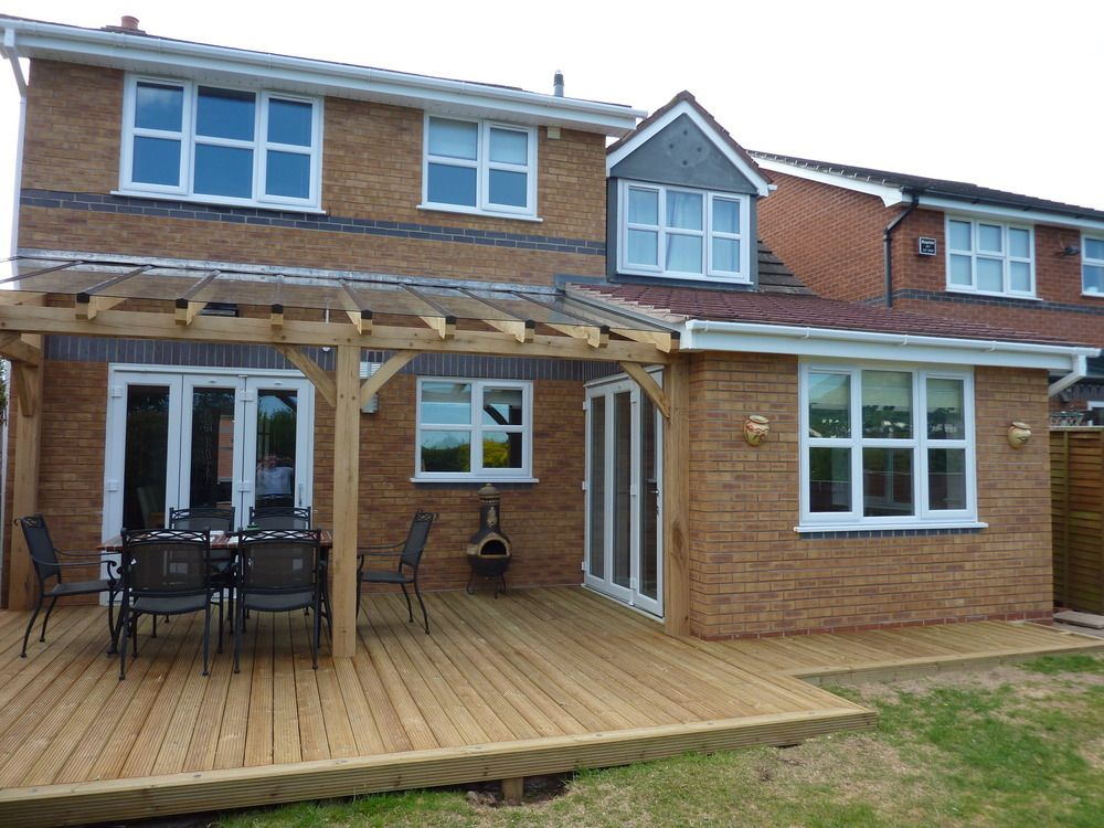 Extension With Part Covered Decking Finished With Oak Timber U0026 Toughened  Glass Roof. Project Completed