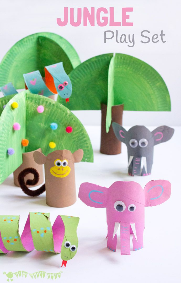 Make a jungle playset for kids from toilet paper rolls. Cardboard elephant, snake and monkey
