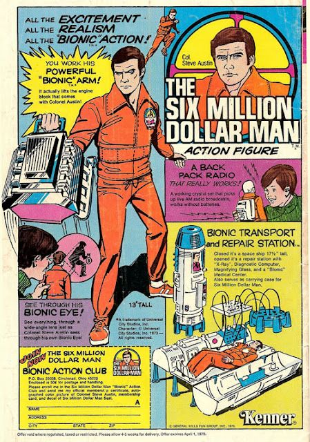 space1970: SIX MILLION DOLLAR MAN/BIONIC WOMAN Comic Book Toy Ads   Kenner  toys, Vintage toys, Old comics