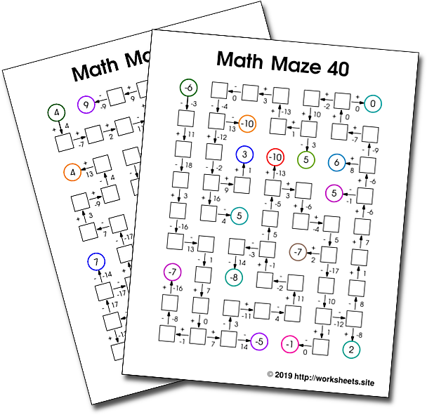 Addition And Subtraction Math Mazes With Integers Free Printable Math Mazes Fun Math Activities Math Maze Fun Math Worksheets Maths Activities Middle School