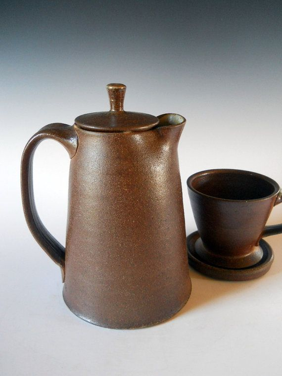 Brew and serve coffee pot with pour over filter, handmade wood fired  creamic coffee pot with filter | Tea pots, Pottery teapots, Pottery mugs