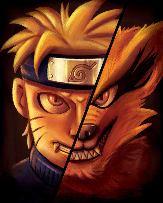 Naruto Kurama Nine Tailed Fox Anime Fan Art Room Decor