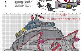 La voiture de SOS Fantômes grille point de croix