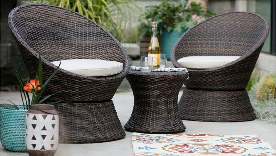 Wicker Set Resin Patio Furniture Outdoor Side Table Wicker Patio Set