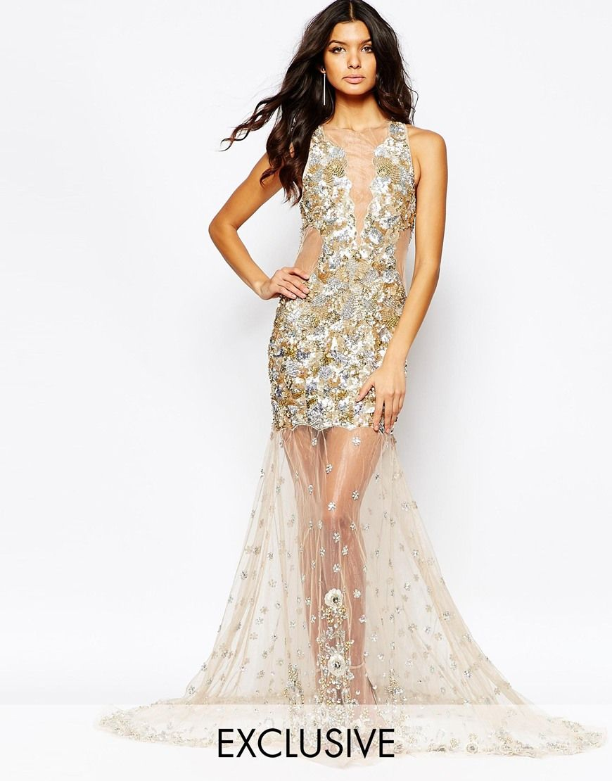 Image 1 ofA Star Is Born Luxe Embellished Mesh Detail Maxi Dress With Jewelled Red Carpet Hem