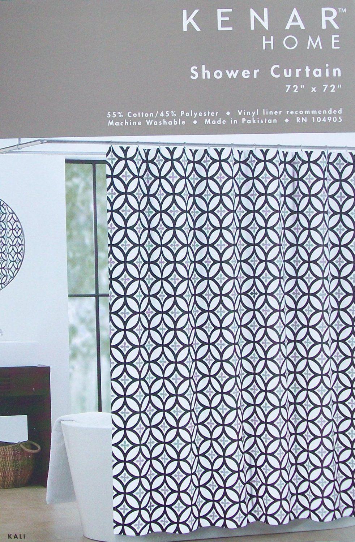 Kali Modern Leaf Fabric Shower Curtain In Black Grey On White Kenar Home New