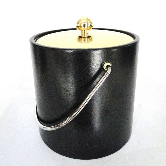 Vintage Ice Bucket Brass Black Leatherlike Kraftware Serving Bar Ware Hostess Entertaining Accessory