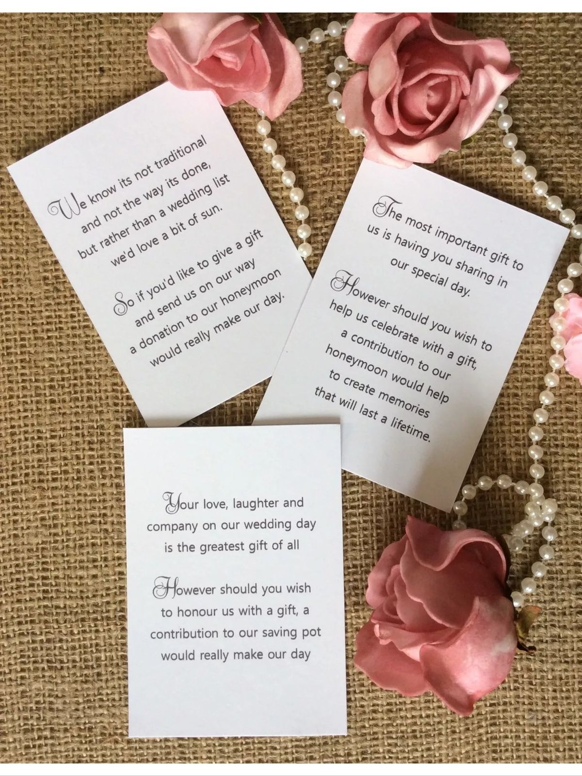 Details about 25 50 wedding gift money poem small cards