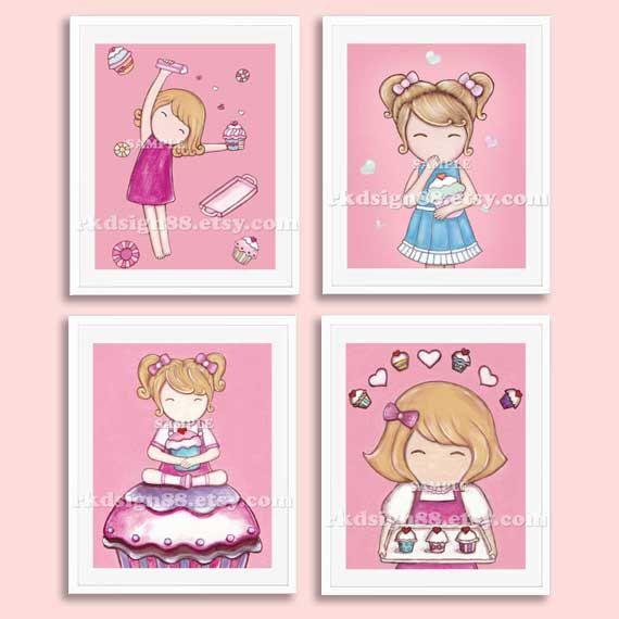 Cupcakes Nursery Art Prints Baby Decor Kids Wall S Room