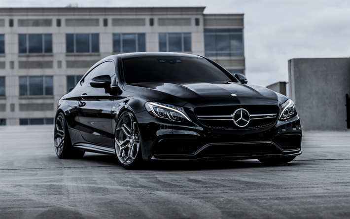 download wallpapers mercedes amg c63s coupe 4k sports coupe black c63s tuning c class coupe. Black Bedroom Furniture Sets. Home Design Ideas