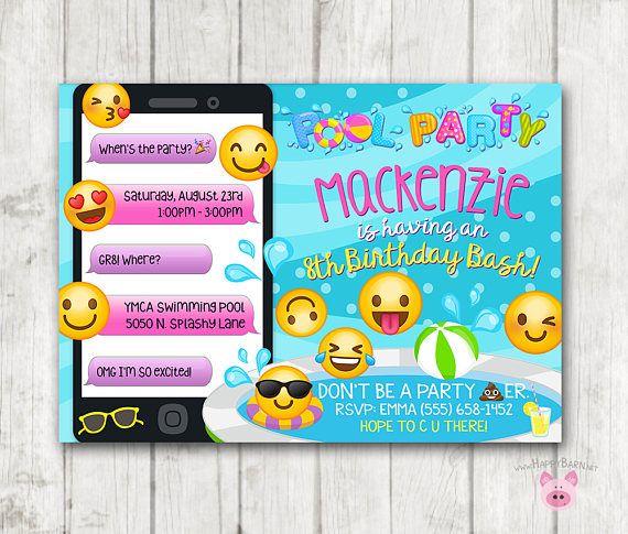 Printable Emoji Pool Party Party Invitation, Swim Party Emoji - birthday invitation swimming party
