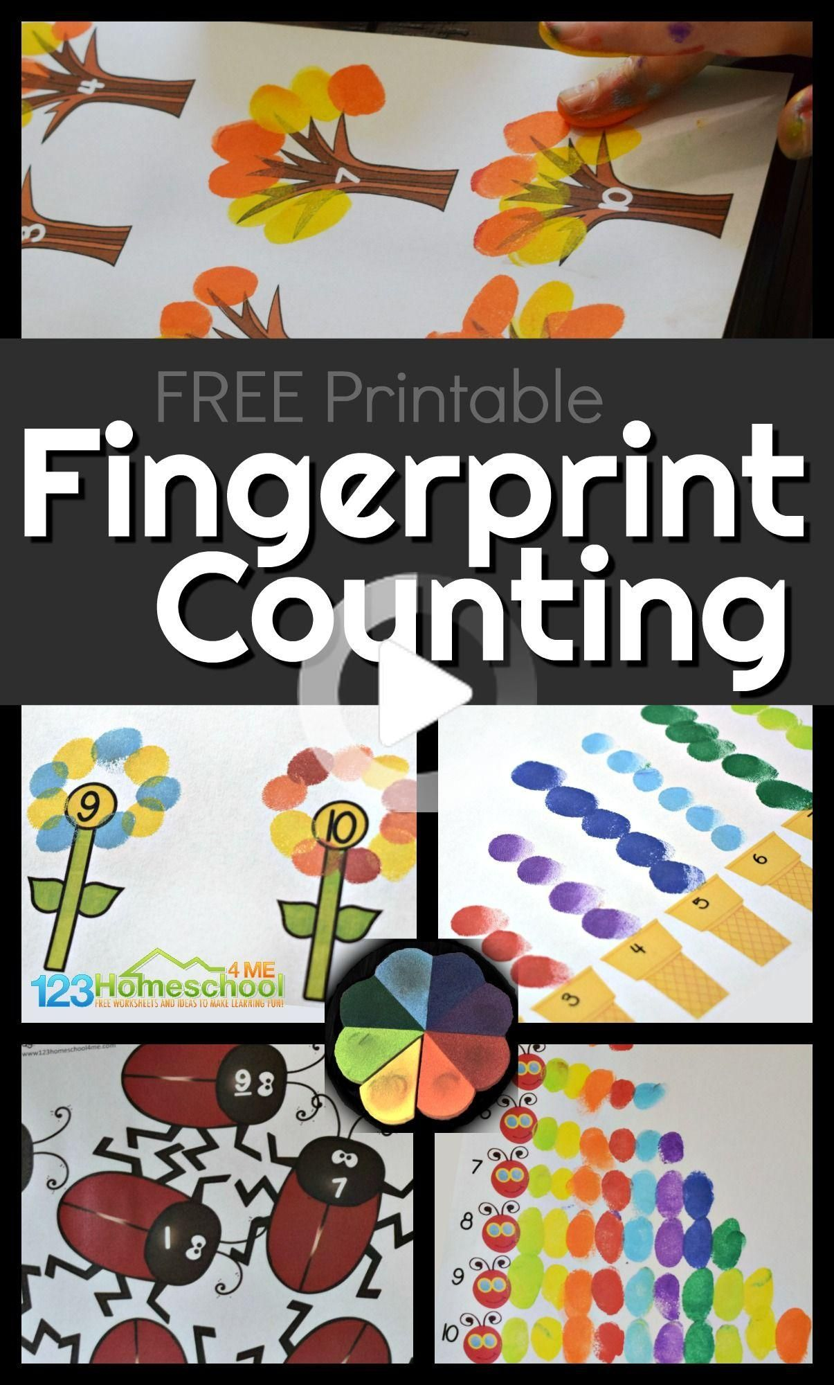 Fingerprint Counting Activity For Kids In