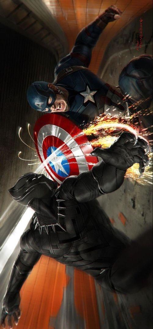 Black Panther Captain America Hd Phone Wallpaper Marvel Superheroes Marvel Artwork Marvel Avengers