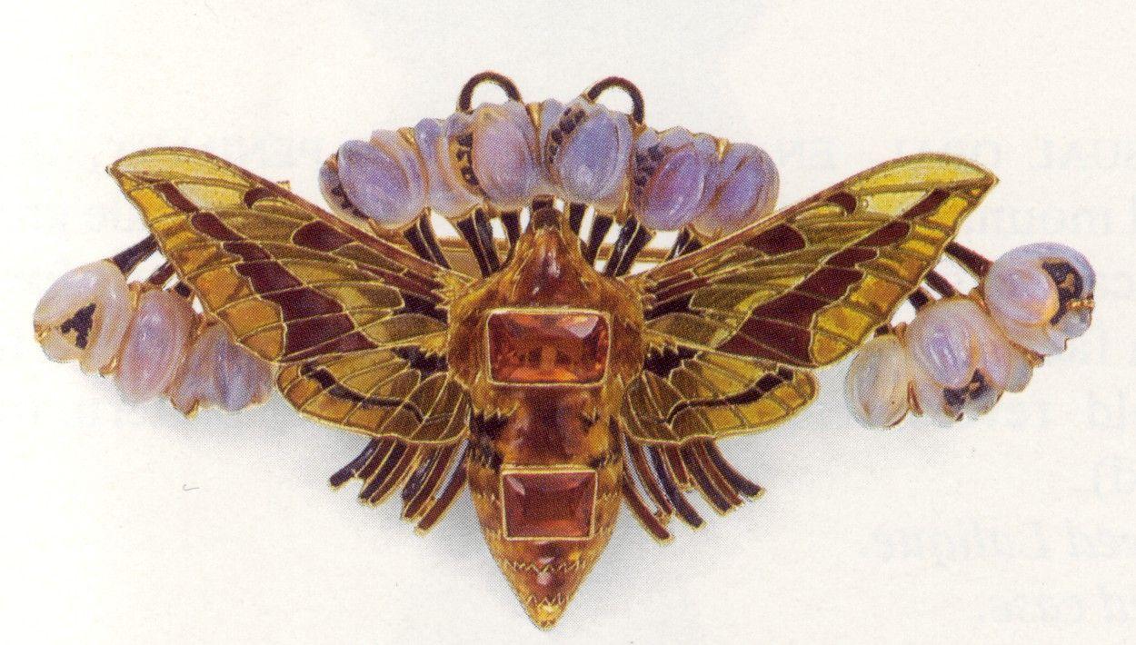 Lalique moth - gold, plique a jour, topaz, unidentified mineral