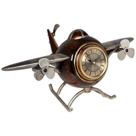 Antique Airplane Desk Clock