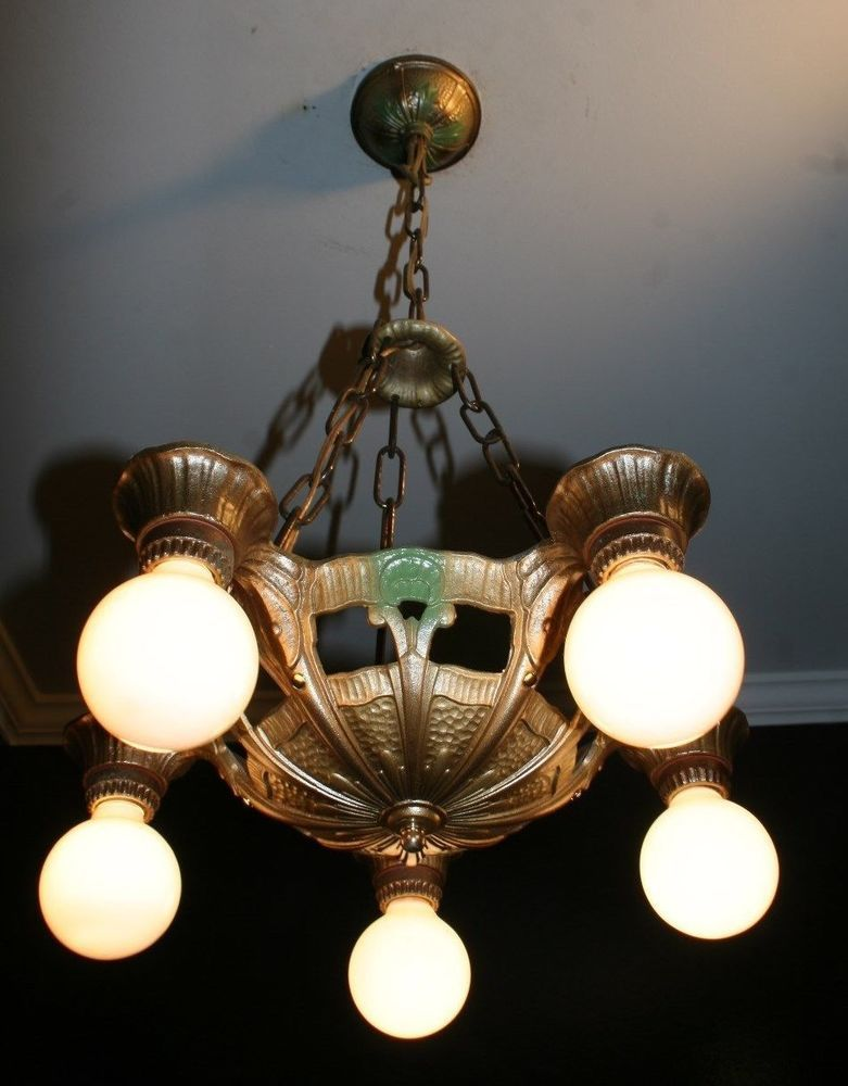 Antique 1930s Cast Aluminum Polychrome Light Fixture Ceiling Chandelier Lincoln Dining Room