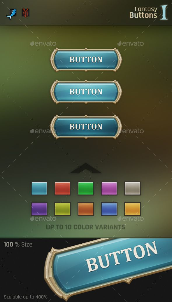 Fantasy Button 1 - User Interfaces Game Assets | Royalty