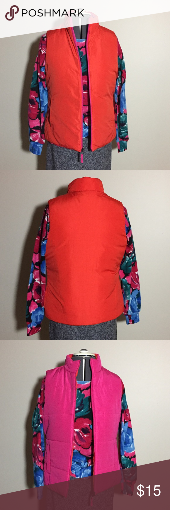 Orange & Pink Reversible Puffer Vest Pink and orange