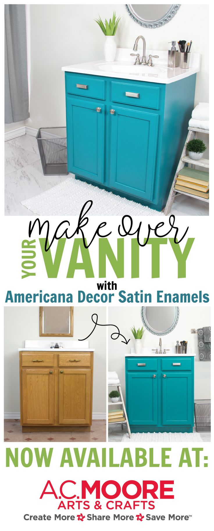 Bathroom Vanity Satin Enamel Transformation Americana Decor Satin