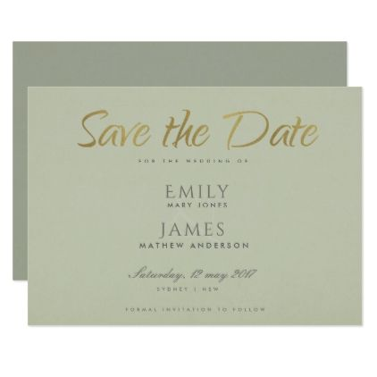 SIMPLE ELEGANT GOLD GREY TYPOGRAPHY SAVE THE DATE CARD - formal