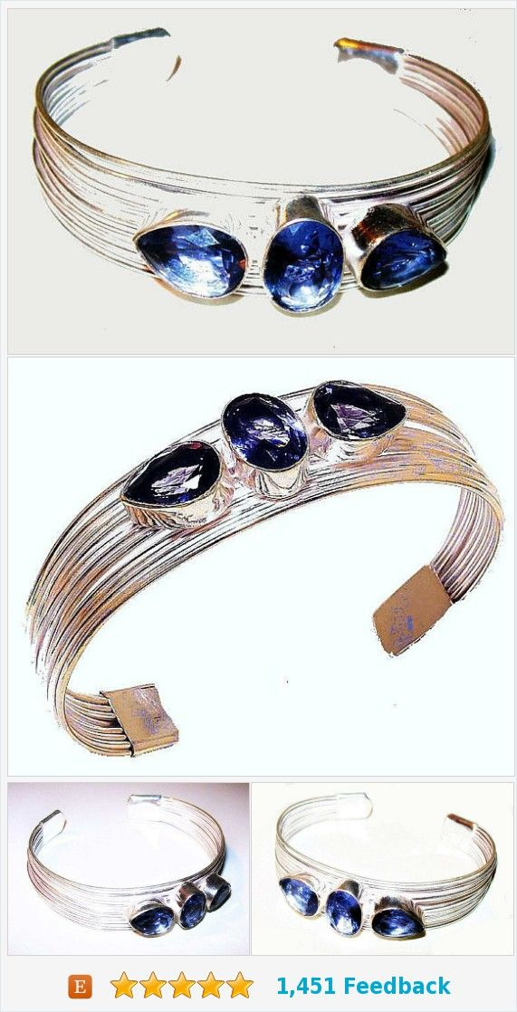 0d30ff71194 Iolite Cuff Bracelet Wire Wrapped Signed 925 Sterling Silver 15 Carats 2  3/4