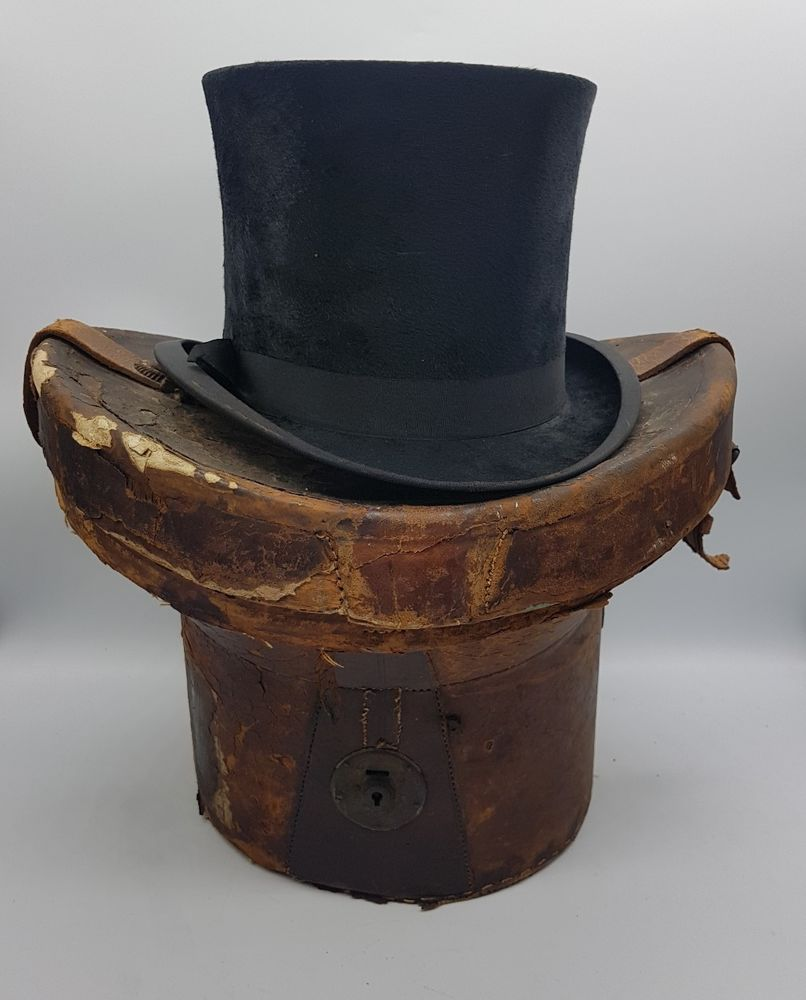d7c61d02b86 Antique Edwardian J. W. Watson Top Hat + Original Leather Transit Storage  Box