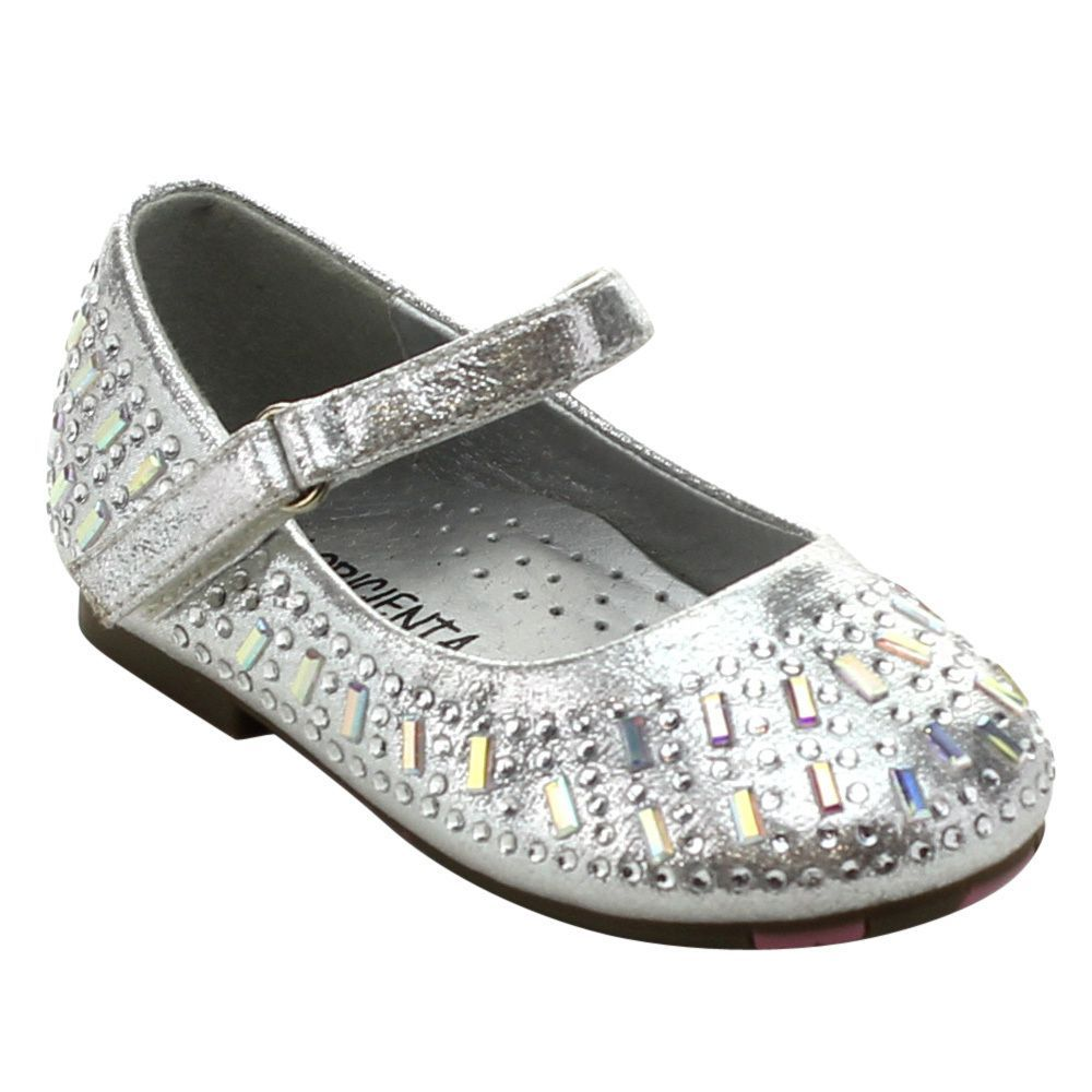 Floricienta Zuri-01i Toddler's Girl Rhinestone Studded Hook and Loop Flats
