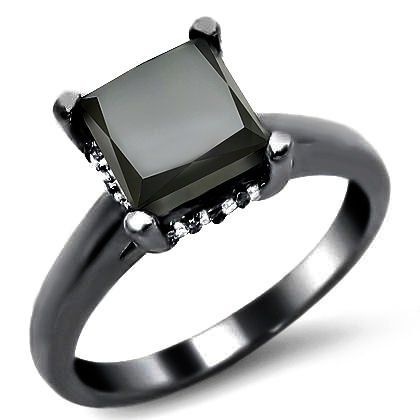 1.91ct Black Princess Cut Diamond Engagement Ring 14k Black Gold...Not that I had intentions of getting married, but if a man offered me this, how could I say no?