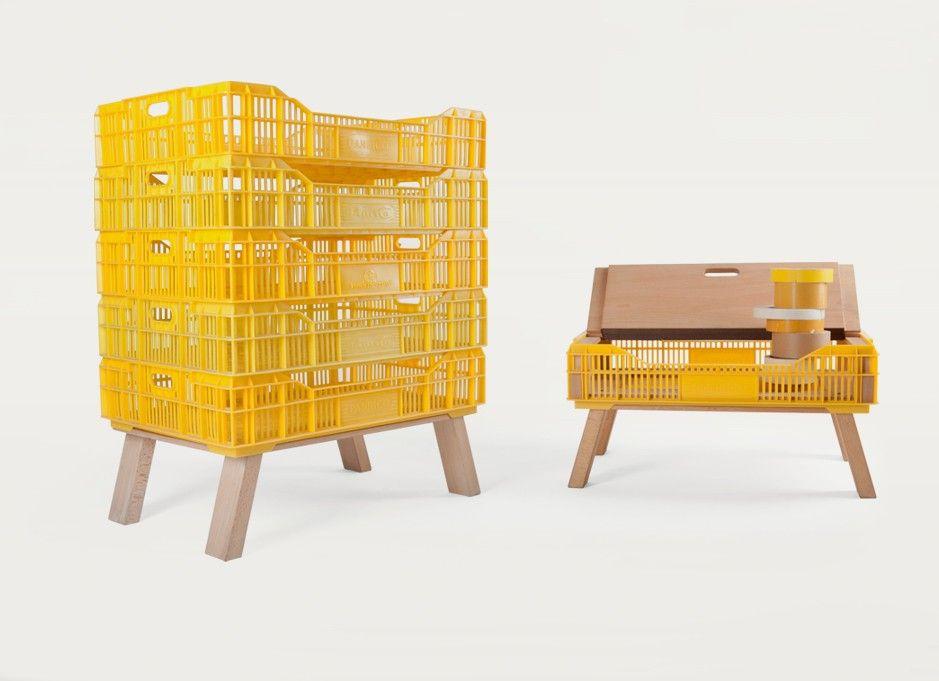 Muebles Con Contenedores Plasticos Diseno Y Reutilizacion Muebles Cajas De Madera Muebles Reciclaje Muebles