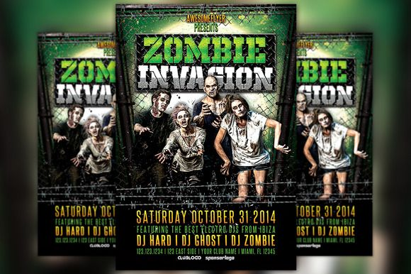 Zombie Invasion Halloween Flyer Flyer template and Template
