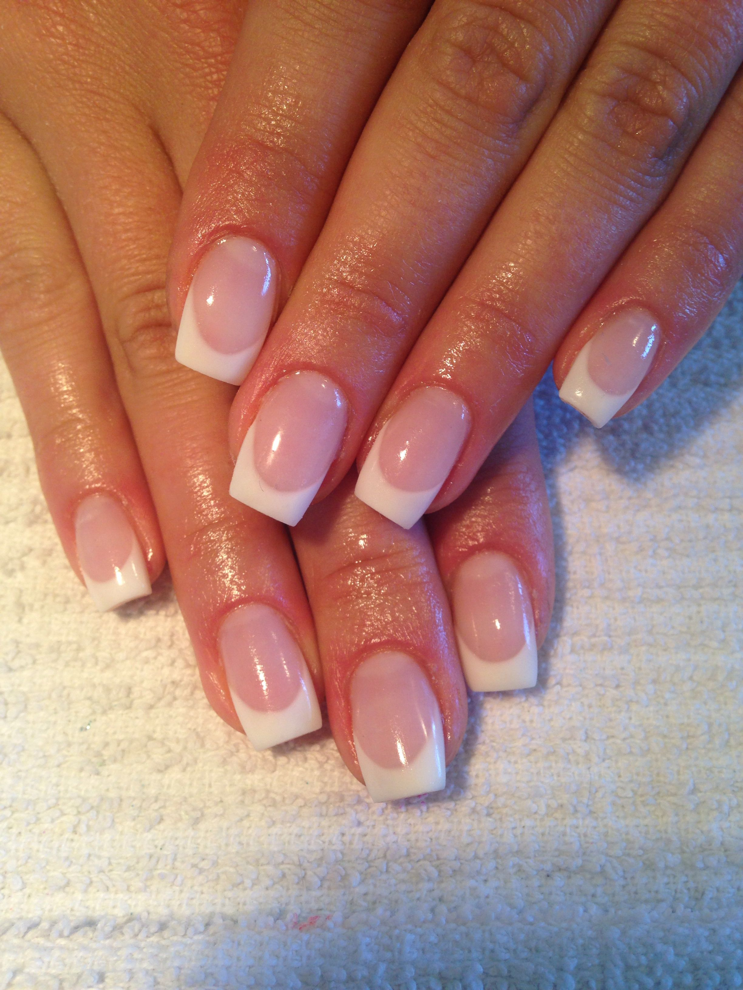 Pink And White French Gel Nails Nails Pinterest Manicure