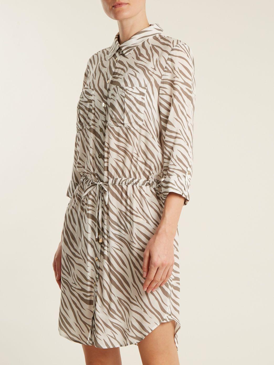 Kalahari zebra-print poplin shirtdress Heidi Klein qpNzz