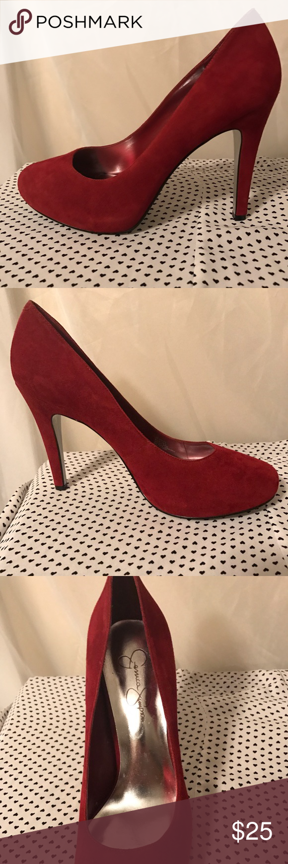 Jessica Simpson red suede heels pumps 8.5 Brand new never worn! They are real suede . Jessica Simpson Shoes Heels
