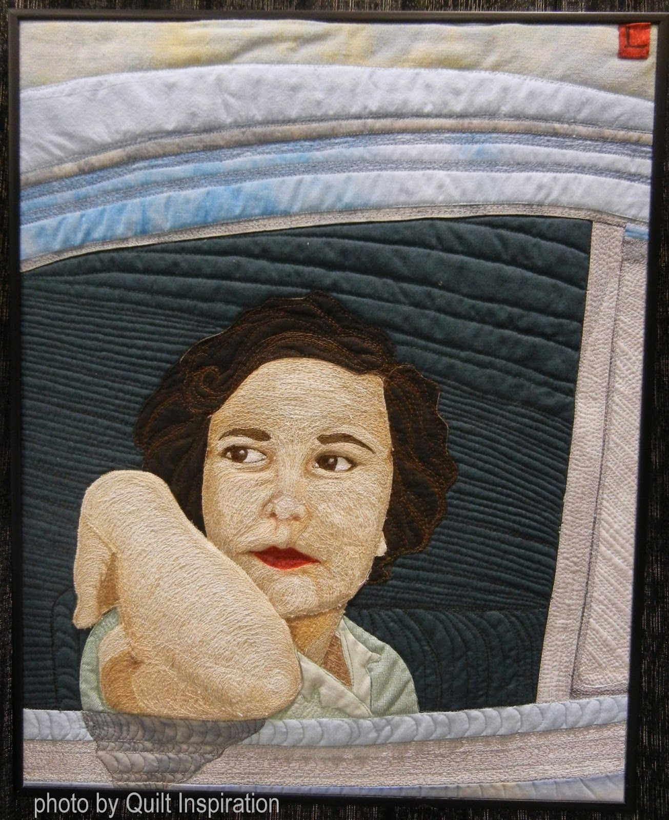 """One Last Look 1952, 20 x 16"""", by Lora Rocke. Photo by Quilt Inspiration: SAQA People and Portraits Art quilt exhibit 2016"""