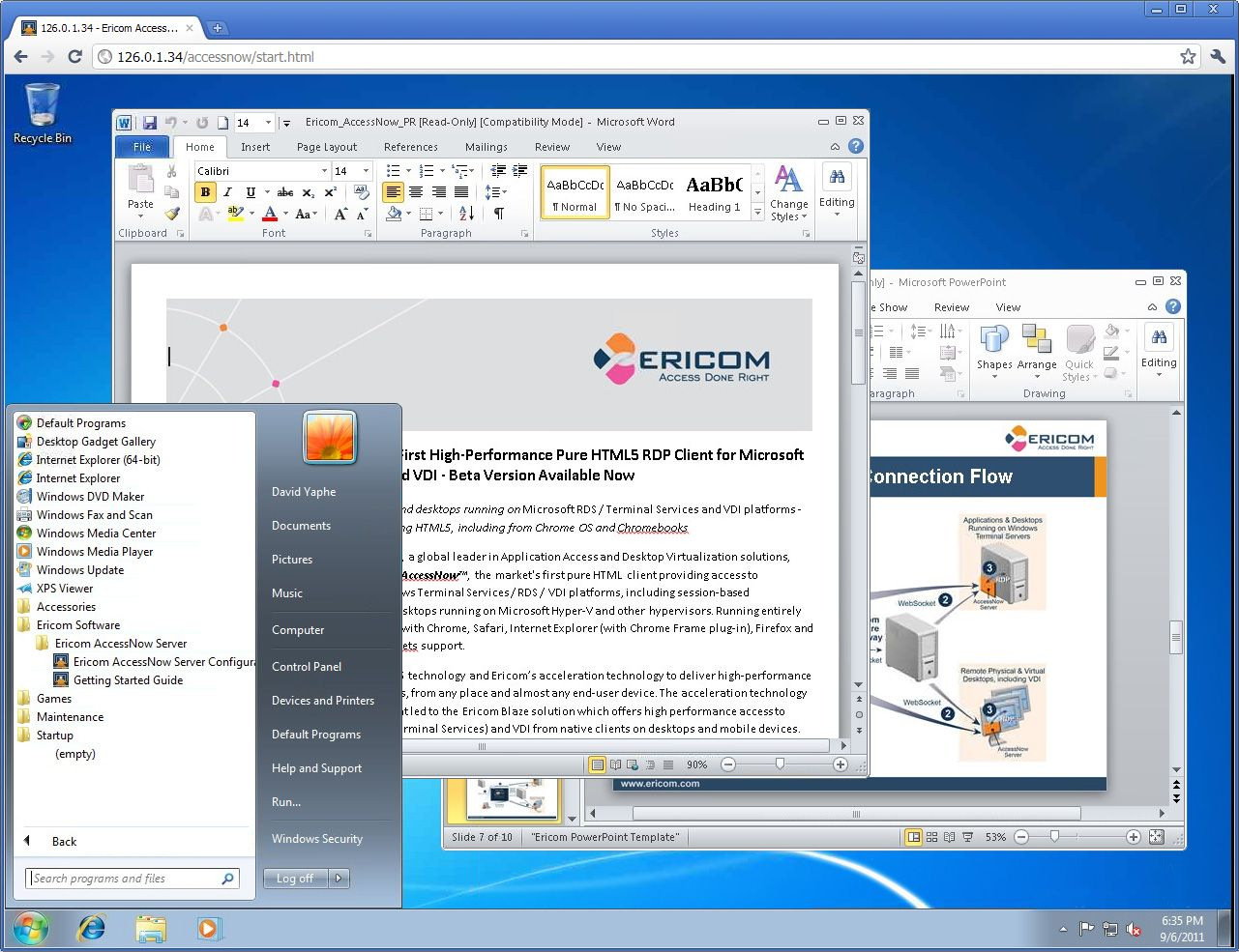 With AccessNow, using an HTML5 Webbrowser