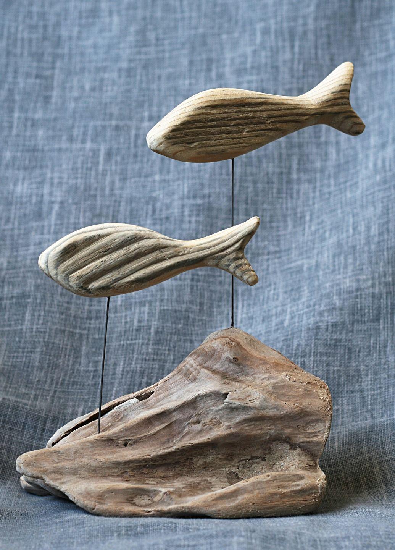 poissons en bois flott mont s sur socle driftwood and. Black Bedroom Furniture Sets. Home Design Ideas