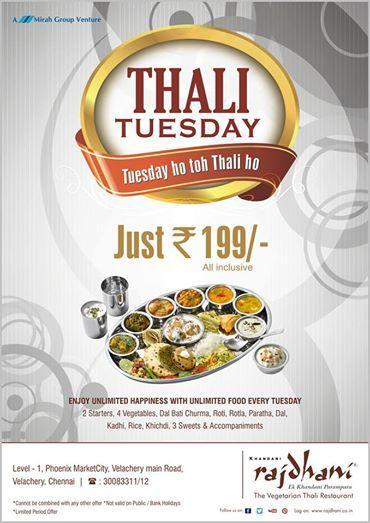 Its Thali Tuesday Enjoy A Scrumptious Meal At Rajdhani
