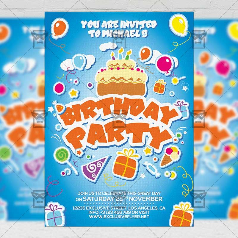 Kids Birthday Invitation Card A5 PSD Template httpswww