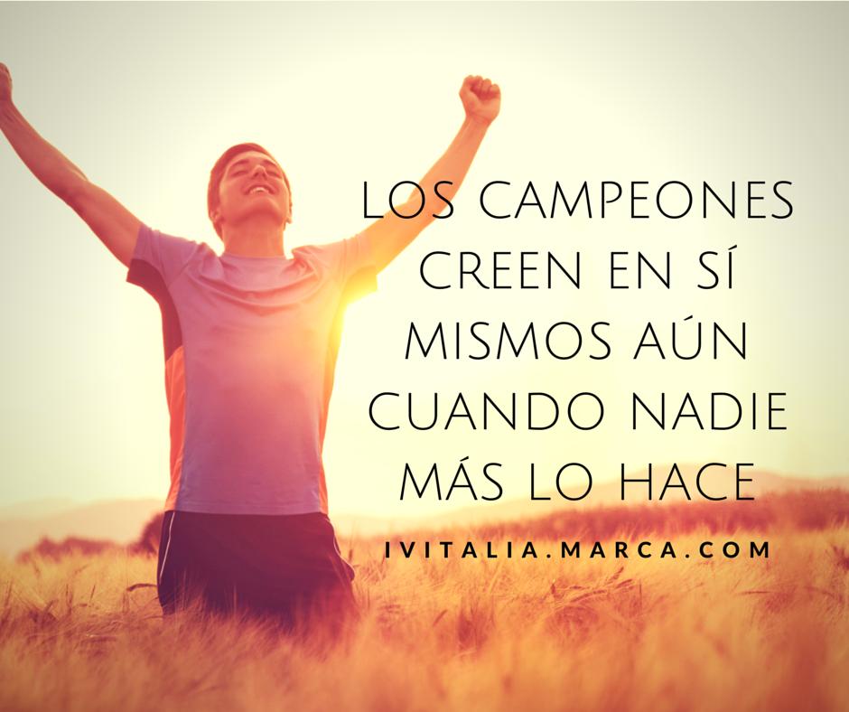 """¡Lo principal es la confianza en sí mismo! """"Los campeones creen en sí mismos aún cuando nadie más lo hace"""" #Actitud #confianza #FelizViernes"""