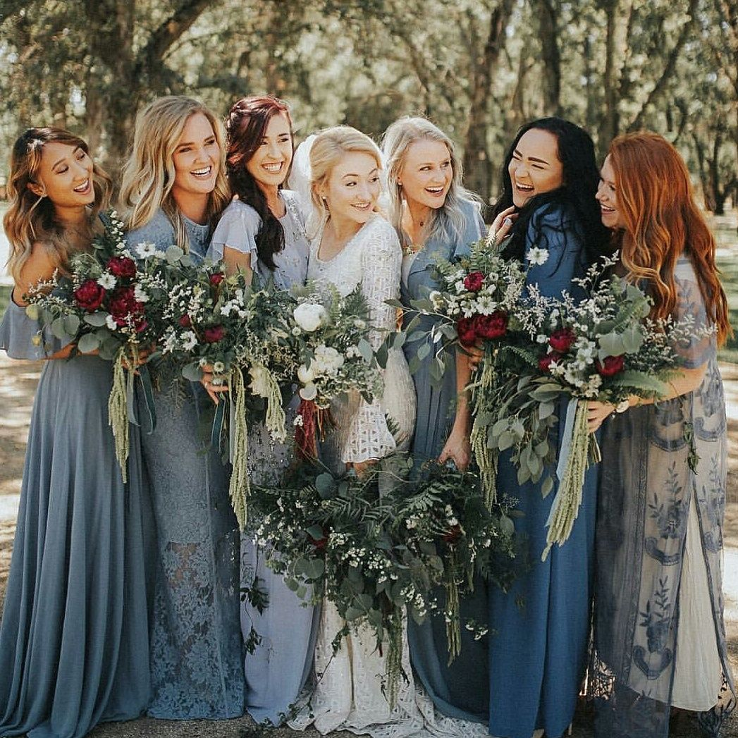 17 bridesmaid style ideas for a winter wedding winter bridesmaid modest wedding dress with long sleeves from alta moda modest bridal gown ombrellifo Image collections